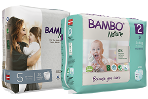 Bambo Nature diaper size 2 and diaper size 5