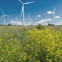 Windmills in the fields producing energy