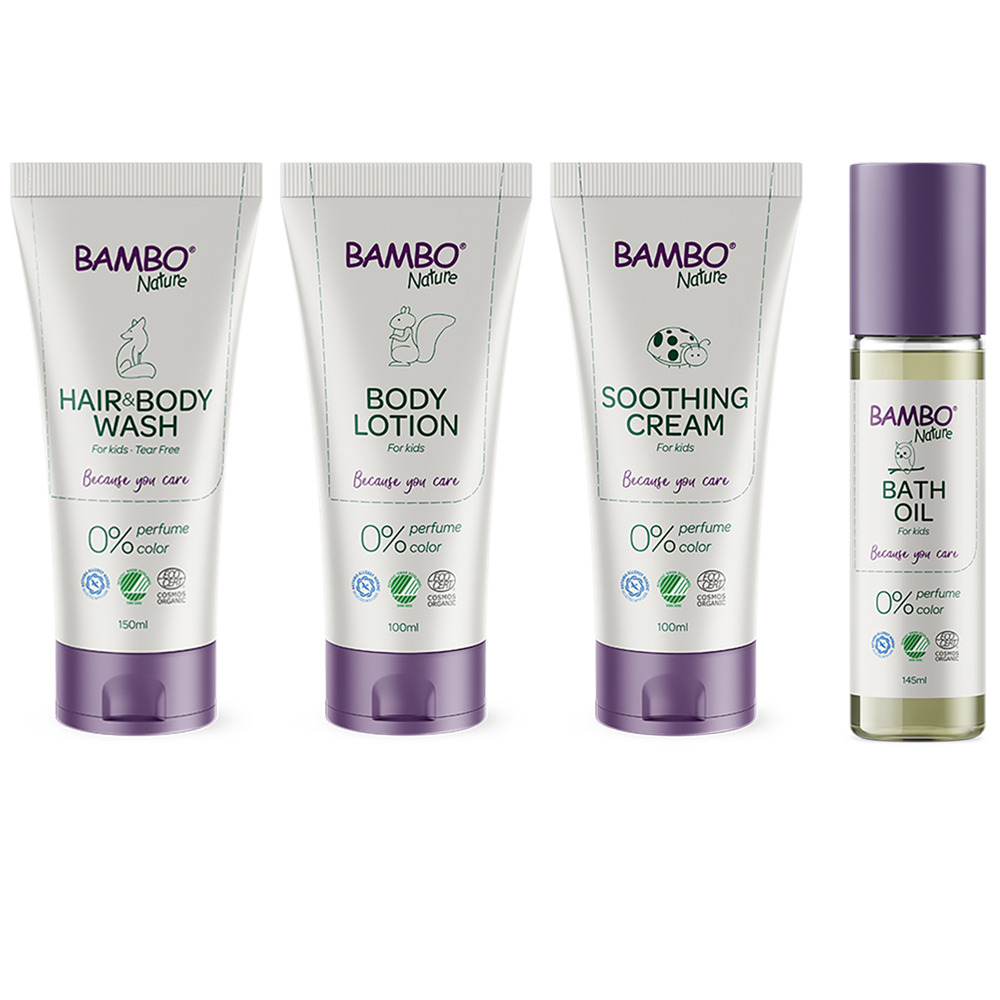 Bambo Nature Skin Care family - body lotion, hair and body wash, soothing cream and bath oil